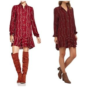 Free People Floral Button Down Shirt Dress